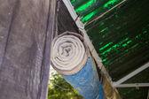 Sun light blocking curtain blinds — Stock Photo