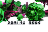 Coming soon with dark green flowers — Stock Photo