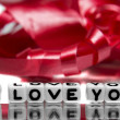 I love you with red ribbon — Stock Photo