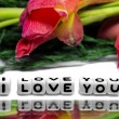 I love you with green and red flowers — Stock Photo