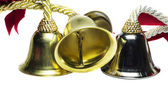 Four christmas shinny bells — Stock Photo