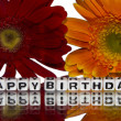 Happy birthday with red and yellow flowers — Stock Photo #37689809
