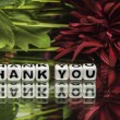Thank you with red flowers and green leaves — Stock Photo