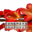 Stock Photo: Congrats with red flowers