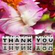 Thank you with pink flowers — Stock Photo #37693487