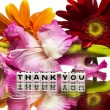 Thank you with red and pink flowers — Stock Photo