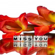Miss you with dark red flowers — Stock Photo