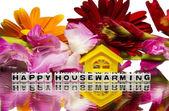 Inflyttningsfest med blommor — Stockfoto