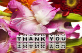 Thank you with pink flowers — Stock Photo