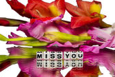 Miss you with red and pink colored flowers — Stock Photo