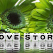 Stock Photo: Green flowers and love story message