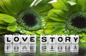 Green flowers and love story message — Stock Photo