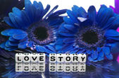Love story with blue theme — Stock Photo