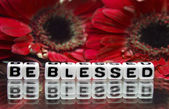 Be blessed message with red flowers — Photo