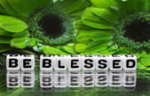 Be blessed text with green flowers — ストック写真