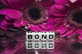 Bond message with pink flowers — Photo