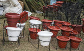 Flower pots on sale — Stok fotoğraf