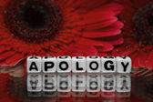 Apology text message with red flowers — Stock Photo