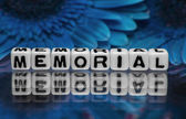 Memorial text message with blue flowers — Stock Photo