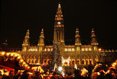 Mercado de natal, perto de city hall, viena — Foto Stock