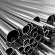 Stock Photo: Metal pipes stack.