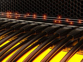 Modern network switch with cables. — Stock Photo
