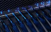 Moderne netwerkswitch met kabels. — Stockfoto