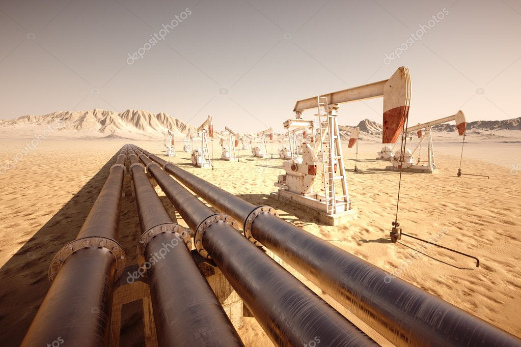 Oil pump jack rocking with pipeline in the background.  Stock Photo #18850537