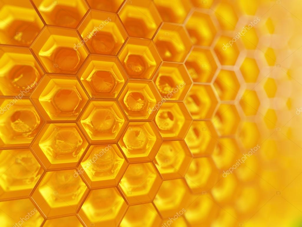 Fragment of honeycomb with full  cells in bright sunlight.  Stock Photo #18877651