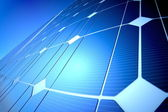 Sunny solar blue shiny panel, closeup — Foto Stock