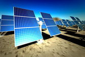 Sunny solar panels in a solar power station — Stock Photo