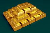 Skládaný zlaté cihly — Stock fotografie
