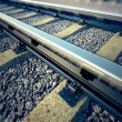 Railroad straight track. - Stock Photo