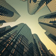 Reflective skyscrapers, business office buildings. — Stock Photo