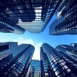 Business towers with fisheye lens effect. - Stock Photo