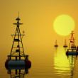 Sea buoys at sunset. — Stock Photo