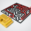 Gold maze. - Stock Photo