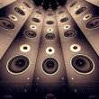 Wall of speakers. - Stock Photo