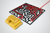 Gold maze. — Stock Photo