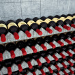 Wine bottles on a wooden shelf. — Stock Photo