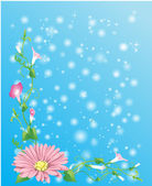 Flowers, green plants and bubbles — Stock Vector