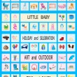 50 vector icons on children and childhood — Stock Vector #20353489