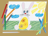 """Vector """"a child's drawing"""" the Easter Bunny egg — Vetorial Stock"""