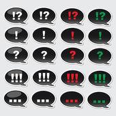 Icônes vectorielles noirs avec des signes différents à l'intérieur. — Vecteur