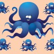 Blue cheerful cartoon octopus, with a different face. Vector illustration, a set of pictures. — Stock Vector
