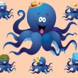 Blue cheerful cartoon octopus, with various accessories ( hat). — Stock Vector