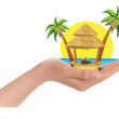 Palm trees, the sea, the sun, the cabin in big hand, vector illustration — Stock Vector