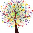 Vector beautiful spring tree, consisting of butterflies — Stock Vector #24286959