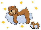 Vector cartoon color cute Teddy bear sleeping on a cloud — Stock Vector