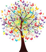 Vector beautiful spring tree, consisting of butterflies — Stock Vector